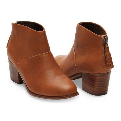 Hnědé dámské kožené kotníkové boty TOMS Leila Bootie