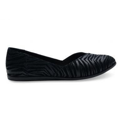 Černé dámské zebří balerínky TOMS Jutti Flat