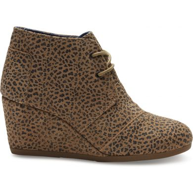 Cheetah Suede Printed Women's Desert Wedge Boot