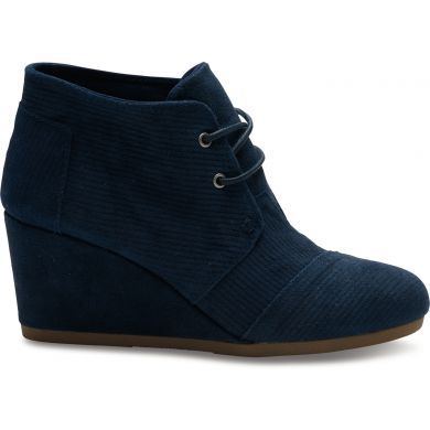 Navy Blazer Suede Corduroy Women's Desert Wedge Boot