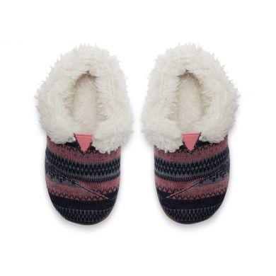 Dětské šedo-růžové bačkůrky TOMS Tribal Tiny Slip s kožíškem