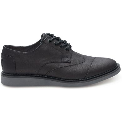 Black Coated Canvas Men's Brogue Lace-up
