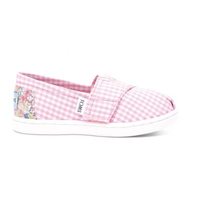 Dětské růžovo-bílé TOMS Tiny Gingham Alpargatas