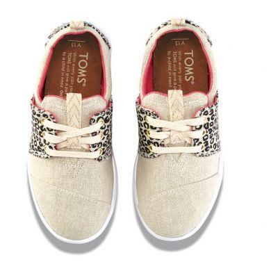 Dětské béžovo-černé tenisky TOMS Leopard Youth Del Rey