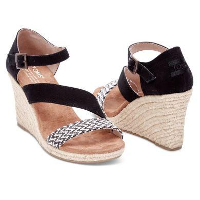 Černobílé dámské sandálky na klínku TOMS Rope Clarissa