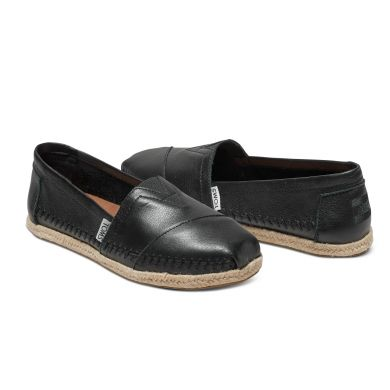 Dámské černé TOMS Leather Seasonal Classics Alpargatas