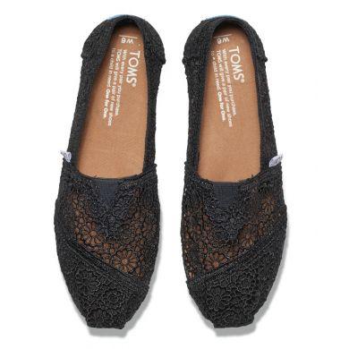 Dámské černé TOMS Marrocan Crochet Alpargatas