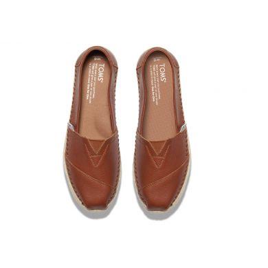 Dámské hnědé TOMS Leather Seasonal Classics Alpargatas