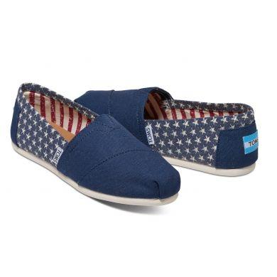 Modro-bílé dámské TOMS Americana Stars Alpargatas