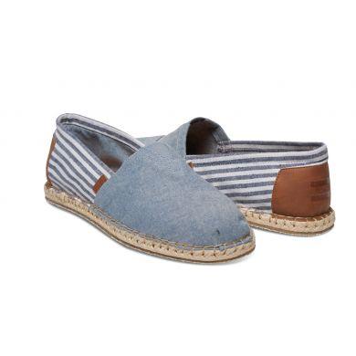 Pánské modro-bílé TOMS Stripe Seasonal Classics Alpargata