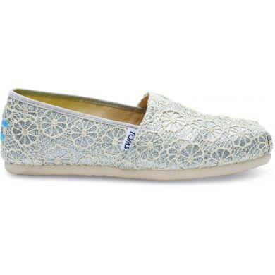 Dámské stříbrné TOMS Crochet Glitter Alpargatas upd.