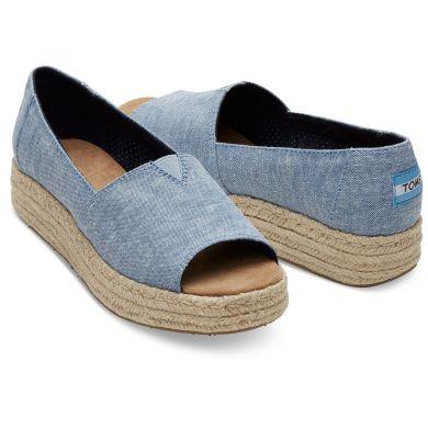 Dámské modré TOMS Chambray Open Toe Platform Alpargatas