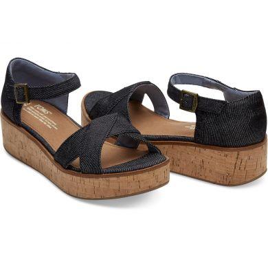 Dámské černé sandálky na platformě TOMS Denim Harper