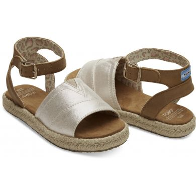 Dětské hnědo-zlaté sandálky TOMS Shimmer Youth Malea