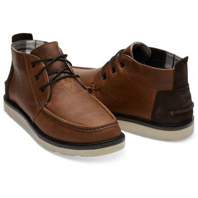 Pánské hnědé kotníkové boty TOMS Leather Chukka