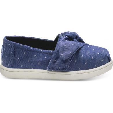 Dětské modré TOMS Bow Seasonal Classics Tiny Alpargatas