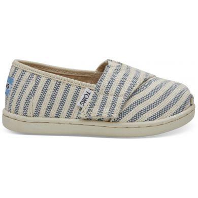 Dětské krémovo-modré TOMS Stripes Seasonal Classics Tiny Alpargata