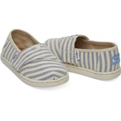 Dětské krémovo-modré TOMS Stripes Seasonal Classics Tiny Alpargatas