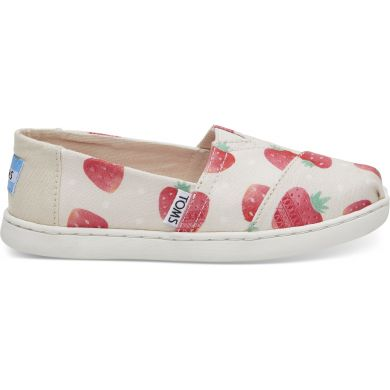 Dětské béžové TOMS Strawberries Seasonal Classics Youth Alpargata
