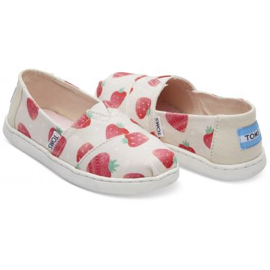 Dětské béžové TOMS Strawberries Seasonal Classics Youth Alpargatas