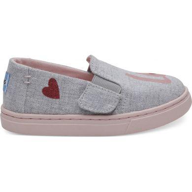 Dětské šedé TOMS Love Tiny Luca Slip-on