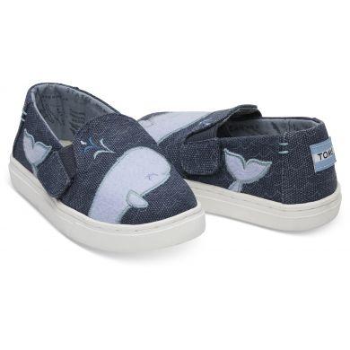 Dětské modré TOMS Felt Whale Oceana Tiny Luca Slip-On