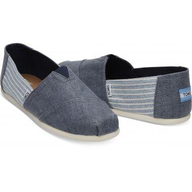 Pánské modré TOMS Linen Stripe Seasonal Classics Alpargatas