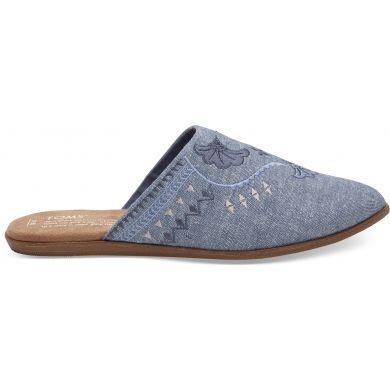 Dámské modré pantofle TOMS Chambray Jutti Mule