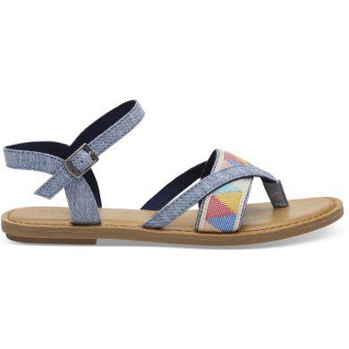 Dámské modré sandálky TOMS Chambray Tribal Lexie