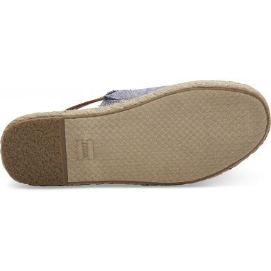 Dámské modré pantofle TOMS Chambray Leather Clara Espadrilles