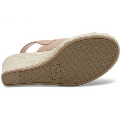 Dámské růžové sandálky na klínku TOMS Suede Monica