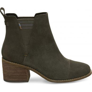 Dámské zelené boty na podpatku TOMS Suede Esme