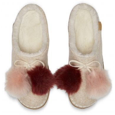 Dámské béžovorůžové pantofle TOMS Pom Pom Ivy