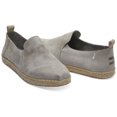 Pánské šedé espadrilky TOMS Grey Suede Deconstructed Alpargata