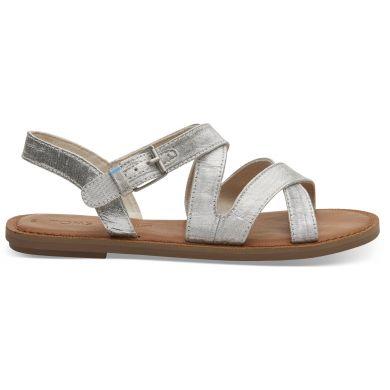 Dámské stříbrné sandálky TOMS Silver Metallic Sicily Sandals
