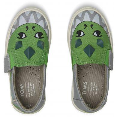 Dětské zelenošedé boty TOMS Tiny 3D Dino Luca
