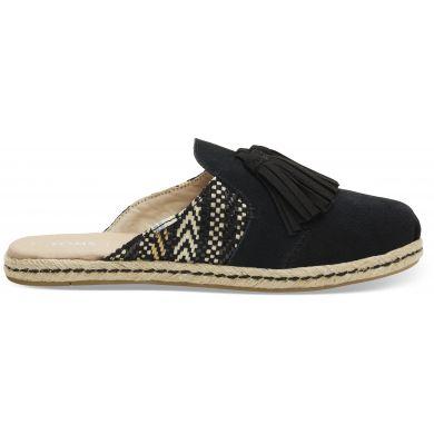 Dámské černé pantofle TOMS Black Suede Tassel Nova Espadrile