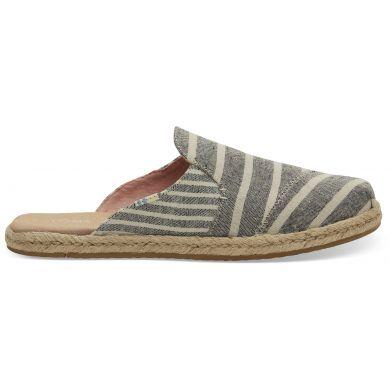 Dámské černobílé pantofle TOMS Black Cabana Stripes Nova Espadrile