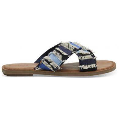 Dámské modré pantofle TOMS Navy Denim Viv Sandals