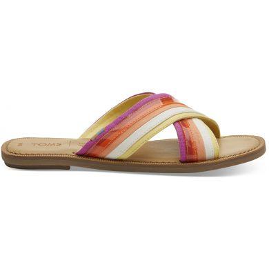 Dámské barevné pantofle TOMS Multi Canvas Viv Sandals
