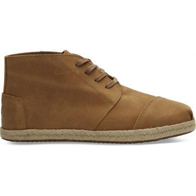 Pánské hnědé kožené TOMS Leather Bota Boots