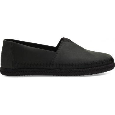 Pánské černé espadrilky TOMS Full Grain Leather Alpargatas