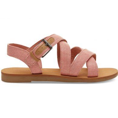 Dětské růžové sandálky TOMS Pink Shimmer Canvas Youth Sicily Sandals
