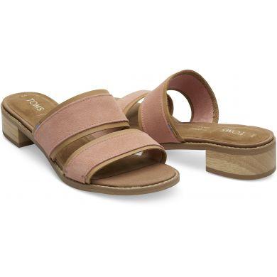 Dámské světle růžové pantofle na podpatku TOMS Mariposa Sandals