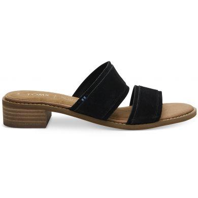 Dámské černé pantofle na podpatku TOMS Mariposa Sandals