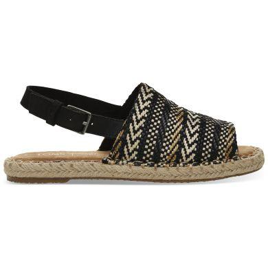 Dámské černobílé pantofle TOMS Black Geometric Clara Espadrilles