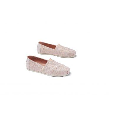 Dámské růžové TOMS Glitter Daisy Alparagatas