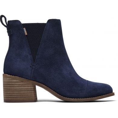 Dámské modré semišové boty na podpatku TOMS Esme