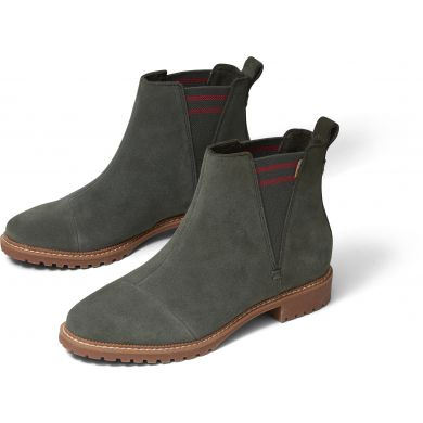 Dámské olivově zelené semišové kotníkové boty TOMS Cleo
