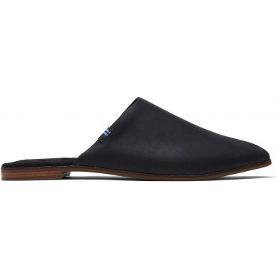 Dámské černé kožené pantofle TOMS Jutti Mule